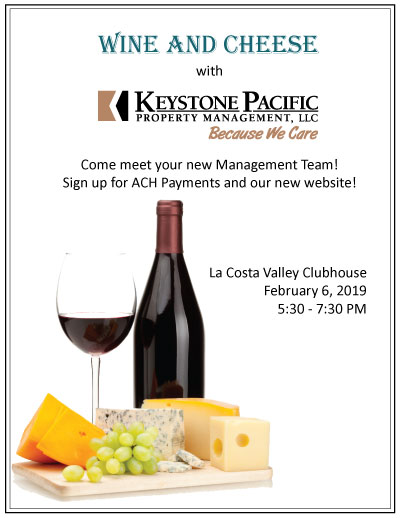 Keystone Wine and Cheese Event for La Costa Valley